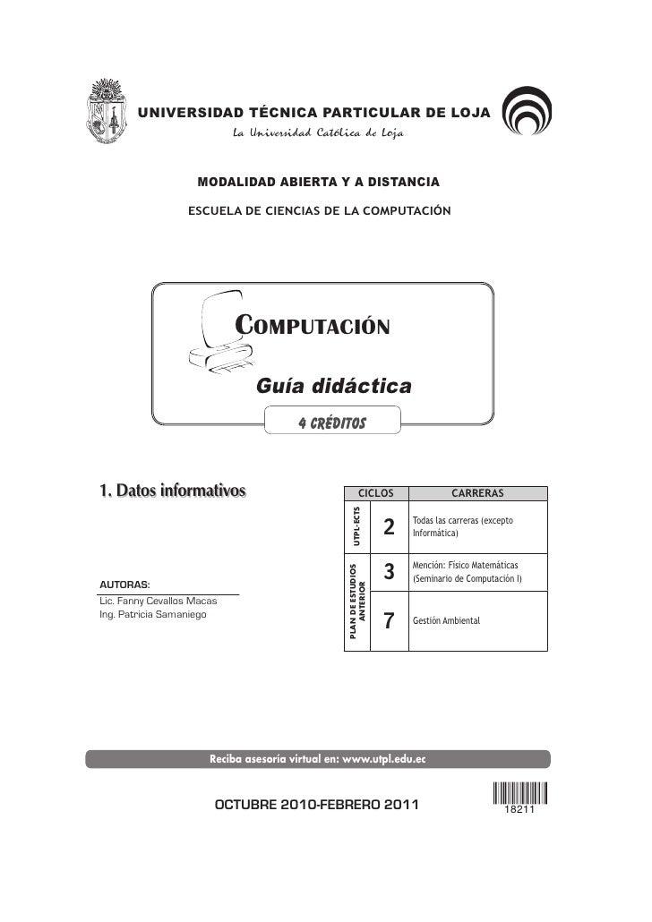 UNIVERSIDAD TÉCNICA PARTICULAR DE LOJA                            La Universidad Católica de Loja                    MODAL...