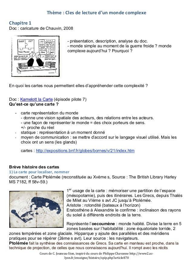 Thème  :  Cles  de  lecture  d'un  monde  complexe  Chapitre  1  Doc : caricature de Chauvin, 2008  - présentation, descri...