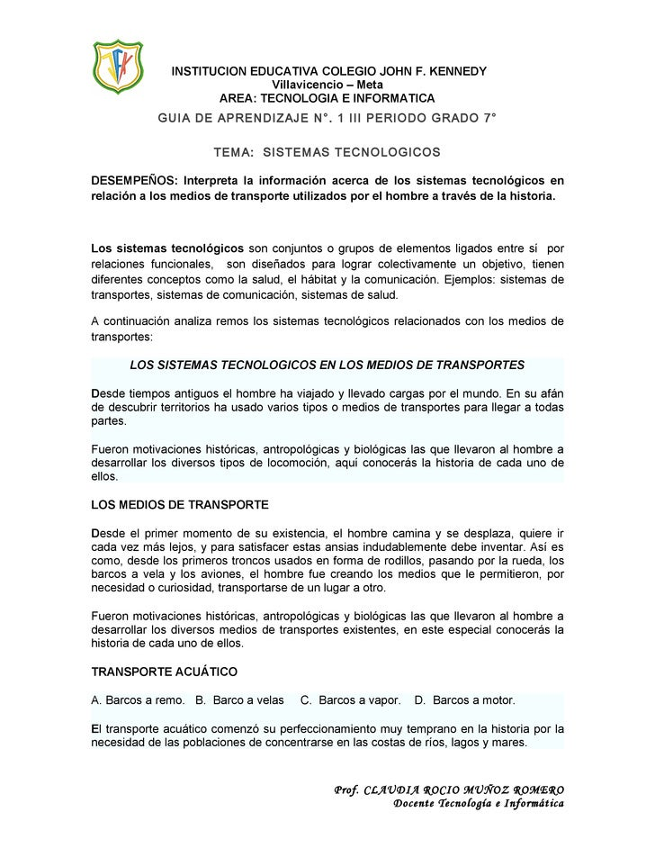 INSTITUCION EDUCATIVA COLEGIO JOHN F. KENNEDY                              Villavicencio – Meta                      AREA:...