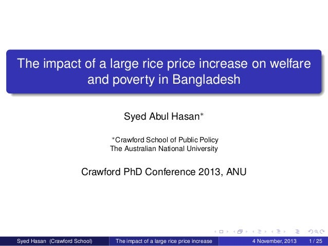 The impact of a large rice price increase on welfare and poverty in Bangladesh Syed Abul Hasan∗ ∗ Crawford School of Publi...