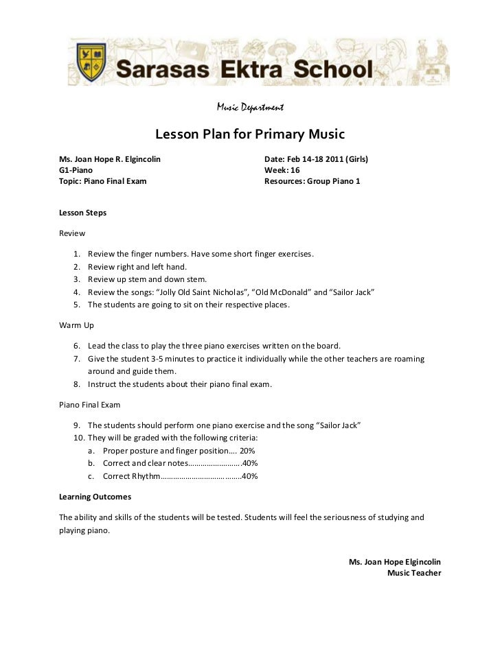 Grade 1 Music Lesson Plan Wk 1-16