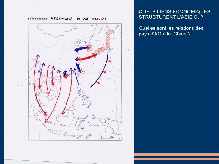 QUELS LIENS ECONOMIQUES STRUCTURENT L'ASIE O. ?  Quelles sont les relations des pays d'AO à la Chine ?