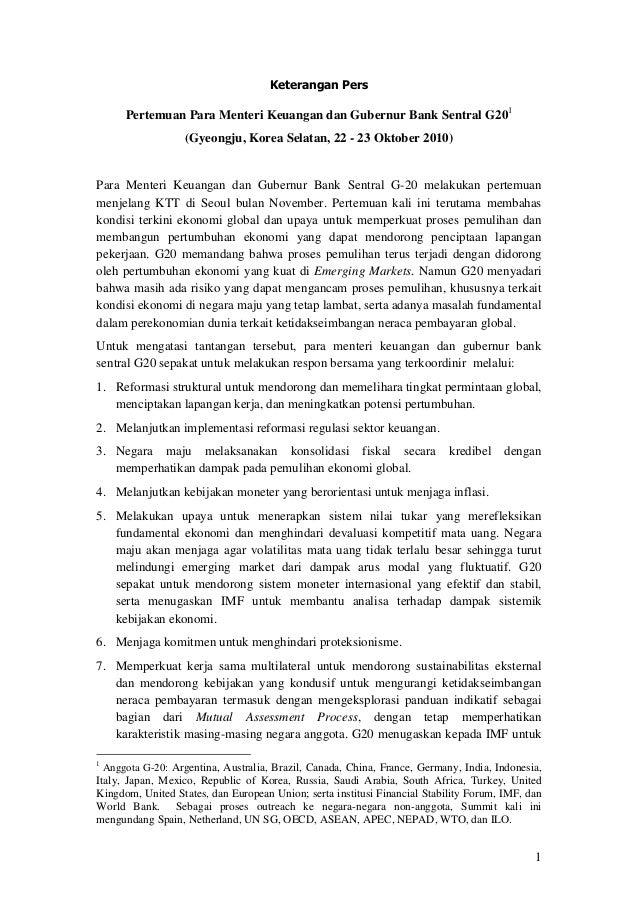 1 Keterangan Pers Pertemuan Para Menteri Keuangan dan Gubernur Bank Sentral G201 (Gyeongju, Korea Selatan, 22 - 23 Oktober...