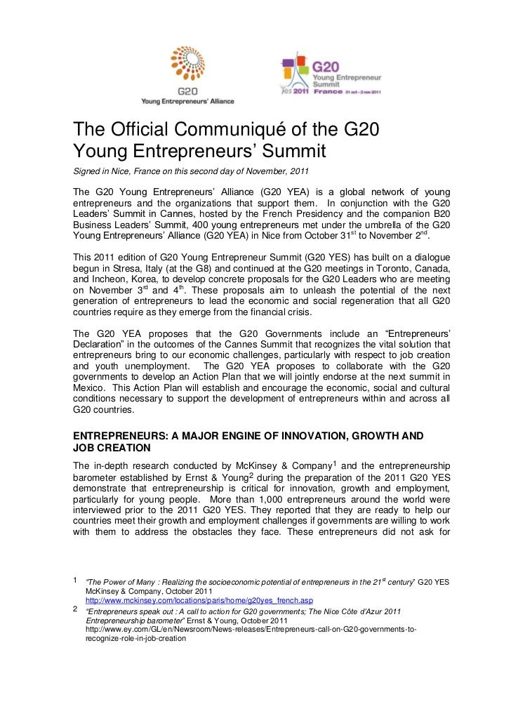 The Official Communiqué of the G20Young Entrepreneurs' SummitSigned in Nice, France on this second day of November, 2011Th...