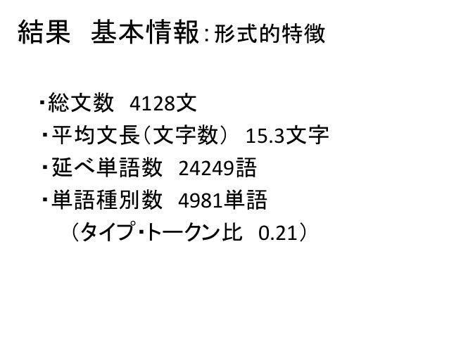 結果 基本情報:形式的特徴 ・総文数 4128文 ・平均文長(文字数) 15.3文字 ・延べ単語数 24249語 ・単語種別数 4981単語 (タイプ・トークン比 0.21)