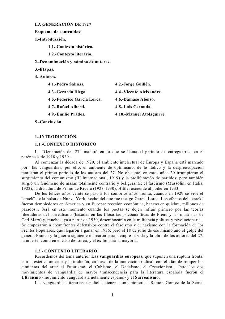 LA GENERACIÓN DE 1927       Esquema de contenidos:       1.-Introducción.              1.1.-Contexto histórico.           ...