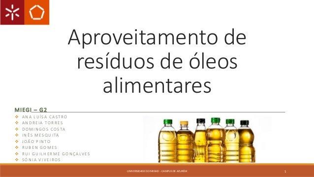 Aproveitamento de  resíduos de óleos  alimentares  MIEGI – G2   ANA LUÍ SA C A S T RO   ANDR E IA TOR R E S   DOMINGOS ...