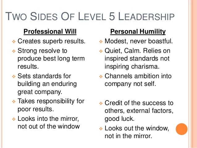 Good to great level 5 leadership summary