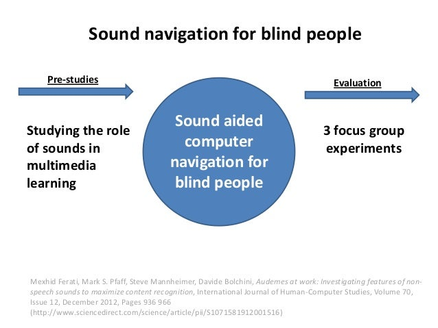 Sound navigation for blind people    Pre-studies                                                                       Eva...