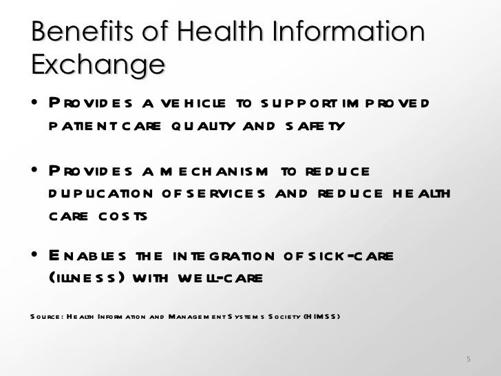 health information exchange essay Evidence on the costs and benefits of health  one potential source of empirical evidence on the benefits of health information exchange is the experience.