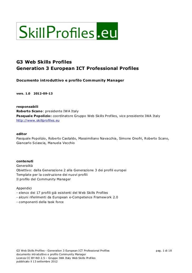 G3 Web Skills Profiles Generation 3 European ICT Professional Profiles  Documento introduttivo e profilo Community Manager...