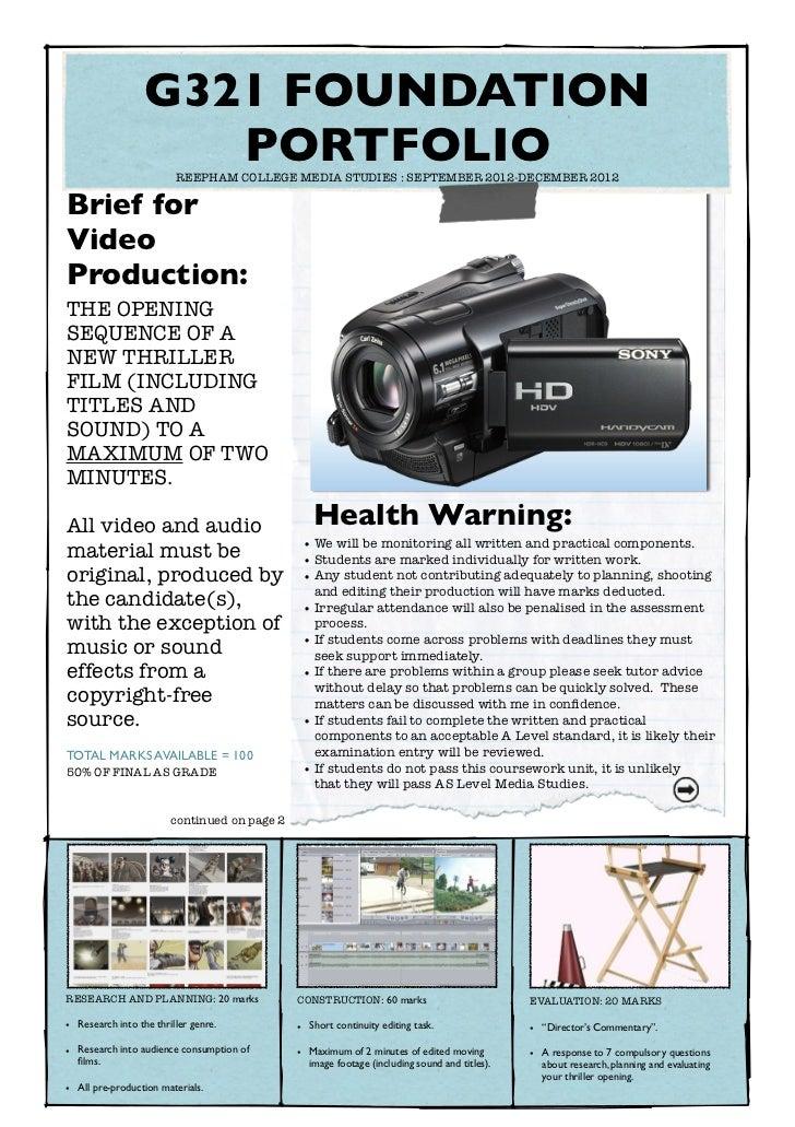 G321 FOUNDATION                      PORTFOLIO                         REEPHAM COLLEGE MEDIA STUDIES : SEPTEMBER 2012-DEC...