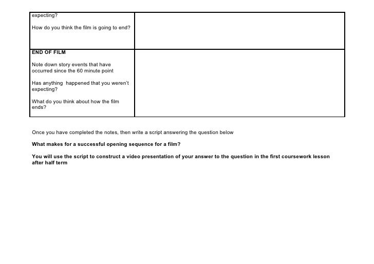 G321 film analysis worksheet – Script Analysis Worksheet