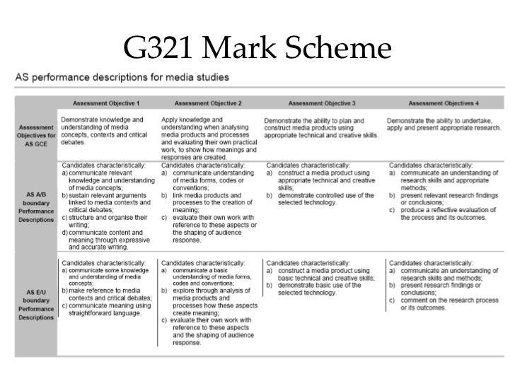 G321 Mark Scheme