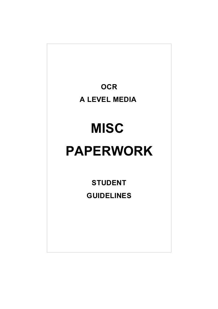 OCR A LEVEL MEDIA   MISCPAPERWORK   STUDENT  GUIDELINES