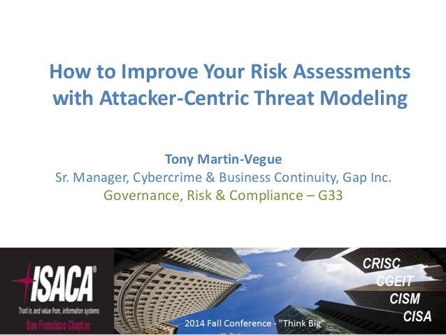 Tony Martin-Vegue Sr. Manager, Cybercrime & Business Continuity, Gap Inc. Governance, Risk & Compliance – G33 How to Impro...