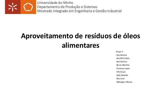 Universidade do Minho  Departamento de Produção e Sistemas  Mestrado Integrado em Engenharia e Gestão Industrial  Aproveit...