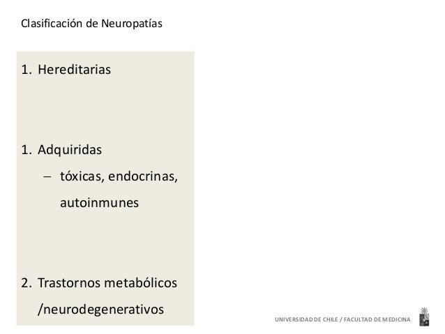 Clasificación de Neuropatías  1. Hereditarias  1. Adquiridas   tóxicas, endocrinas,  autoinmunes  2. Trastornos metabólic...