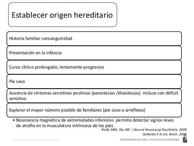 Establecer origen hereditario  Historia familiar consanguinidad  Presentación en la infancia  Curso clínico prolongado, le...