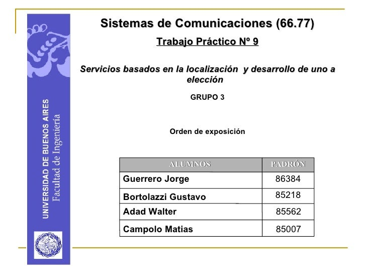 Sistemas de Comunicaciones (66.77)                  Trabajo Práctico Nº 9  Servicios basados en la localización y desarrol...