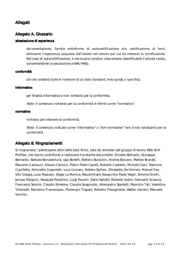 G3 Web Skills Profiles – versione 1.0 – Generation 3 European ICT Professional Profiles 2013-02-14 pag. 13 di 14AllegatiAl...