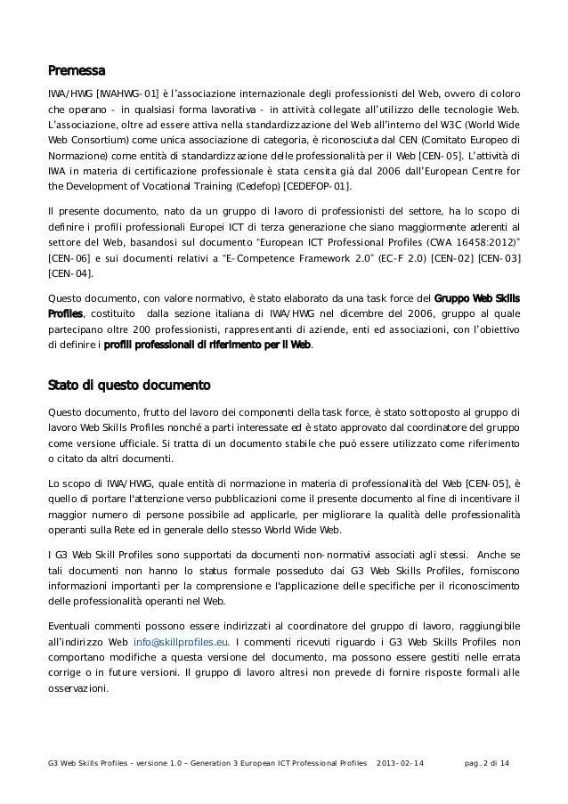 G3 Web Skills Profiles – versione 1.0 – Generation 3 European ICT Professional Profiles 2013-02-14 pag. 2 di 14PremessaIWA...