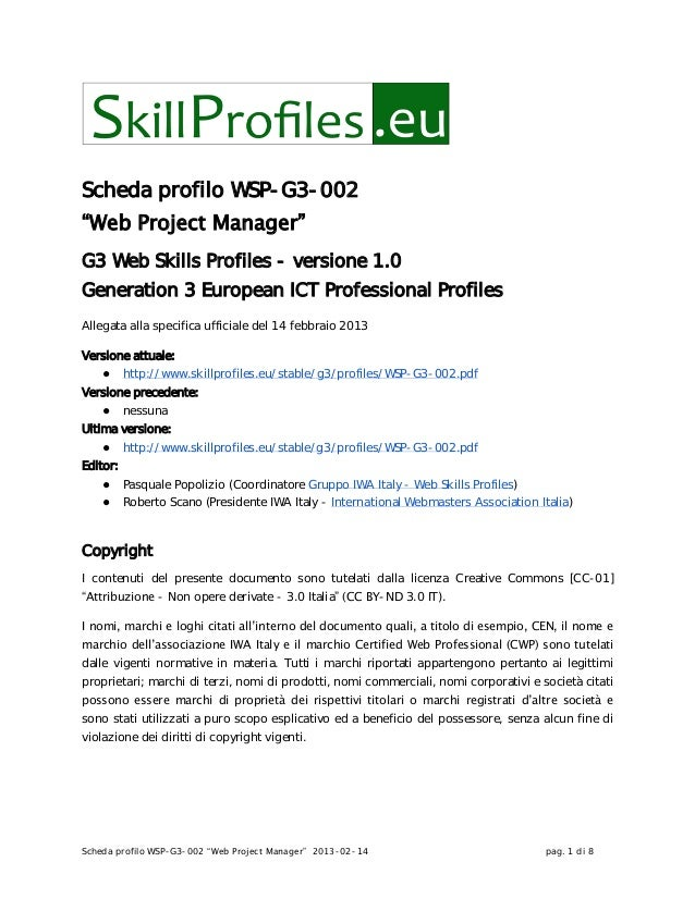 """Scheda profilo WSP-G3-002 """"Web Project Manager"""" 2013-02-14 pag. 1 di 8Scheda profilo WSP-G3-002""""Web Project Manager""""G3 Web..."""