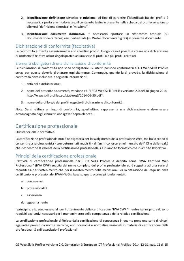 2. Identificazione definizione sintetica e missione. Al fine di garantire l'identificabilità del profilo è necessario ripo...