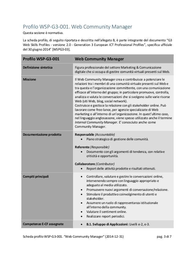 Profilo WSP-G3-001. Web Community Manager Questa sezione è normativa. La scheda profilo, di seguito riportata e descritta ...