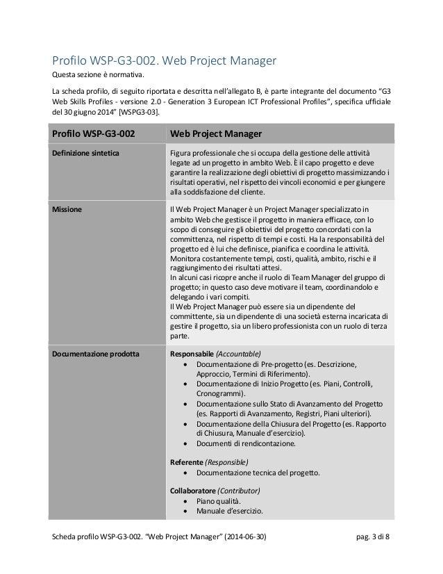 Profilo WSP-G3-002. Web Project Manager Questa sezione è normativa. La scheda profilo, di seguito riportata e descritta ne...
