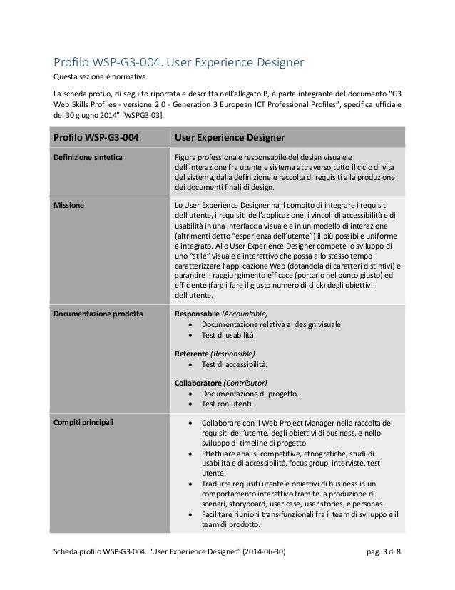 Profilo WSP-G3-004. User Experience Designer Questa sezione è normativa. La scheda profilo, di seguito riportata e descrit...