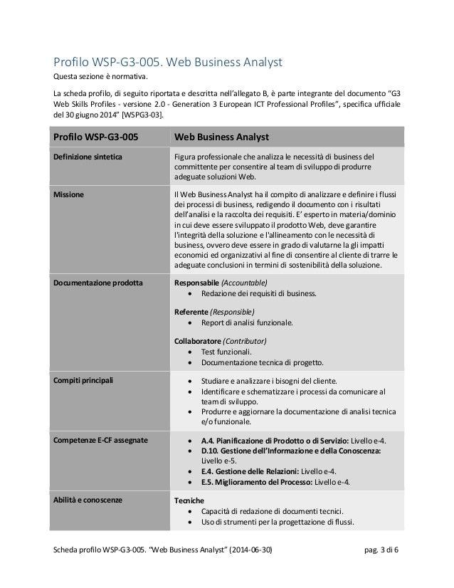 Profilo WSP-G3-005. Web Business Analyst Questa sezione è normativa. La scheda profilo, di seguito riportata e descritta n...
