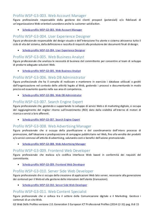 Profilo WSP-G3-003. Web Account Manager Figura professionale responsabile della gestione dei clienti prospect (potenziali)...