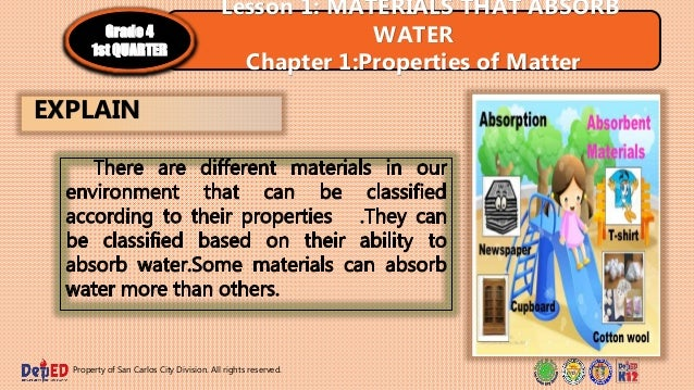 Property of San Carlos City Division. All rights reserved. EXPLAIN Lesson 1: MATERIALS THAT ABSORB WATER Chapter 1:Propert...