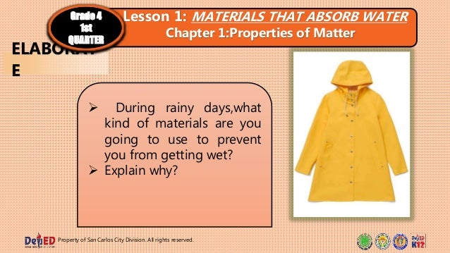 Property of San Carlos City Division. All rights reserved.  During rainy days,what kind of materials are you going to use...