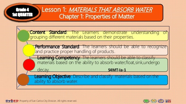 Lesson 1: MATERIALS THAT ABSORB WATER Chapter 1: Properties of Matter Grade 4 1st QUARTER Content Standard: The Learners d...