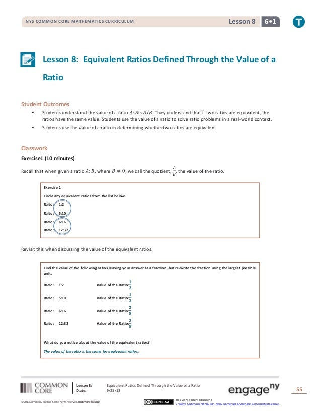 Lesson 8: Equivalent Ratios Defined Through the Value of a Ratio Date: 9/25/13 55 ©2013CommonCore,Inc. Some rights reserve...