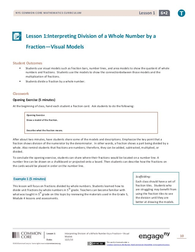 Lesson 1  NYS COMMON CORE MATHEMATICS CURRICULUM  6•2  Lesson 1:Interpreting Division of a Whole Number by a Fraction—Visu...
