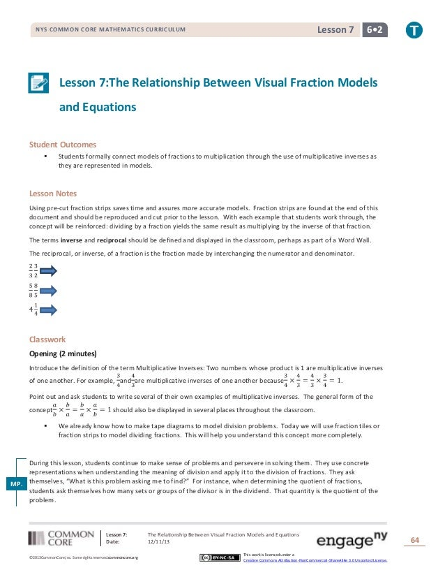 Lesson 7  NYS COMMON CORE MATHEMATICS CURRICULUM  6•2  Lesson 7:The Relationship Between Visual Fraction Models and Equati...