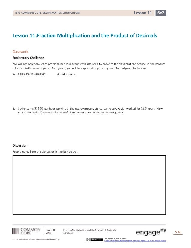 Lesson 11  NYS COMMON CORE MATHEMATICS CURRICULUM  6•2  Lesson 11:Fraction Multiplication and the Product of Decimals Clas...