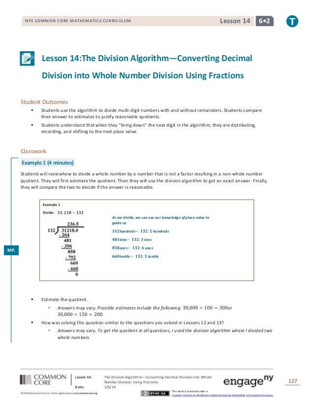 Lesson 14  NYS COMMON CORE MATHEMATICS CURRICULUM  6•2  Lesson 14:The Division Algorithm—Converting Decimal Division into ...