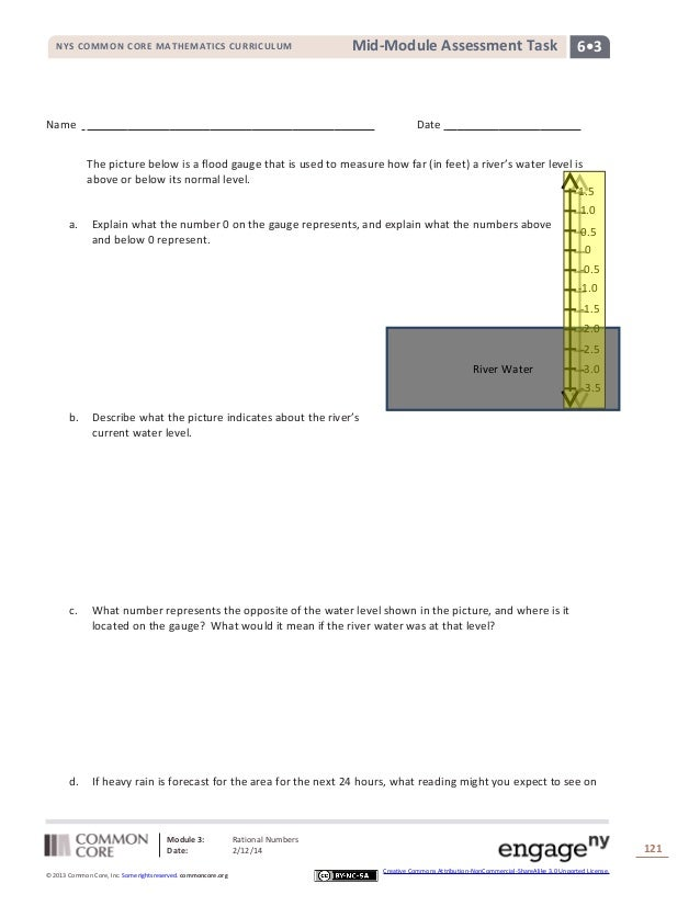 NYS COMMON CORE MATHEMATICS CURRICULUM  Mid-Module Assessment Task  Name  6•3  Date The picture below is a flood gauge tha...