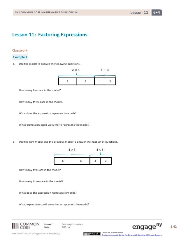 Lesson 11: Factoring Expressions Date: 3/26/14 S.42 42 © 2013 Common Core, Inc. Some rights reserved. commoncore.org This ...