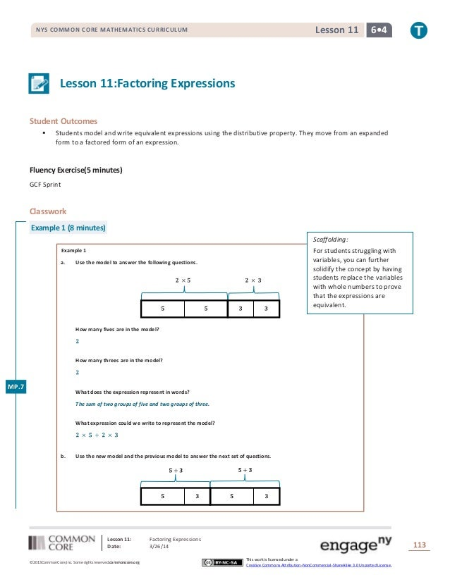Lesson 11: Factoring Expressions Date: 3/26/14 113 ©2013CommonCore,Inc. Some rights reserved.commoncore.org This work is l...