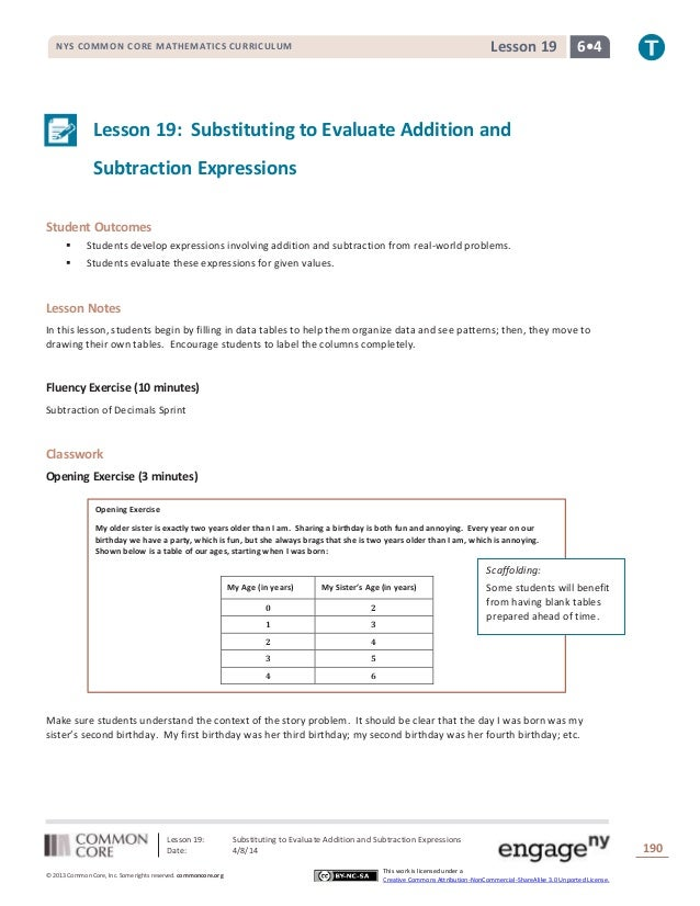Lesson 19: Substituting to Evaluate Addition and Subtraction Expressions Date: 4/8/14 190 © 2013 Common Core, Inc. Some ri...