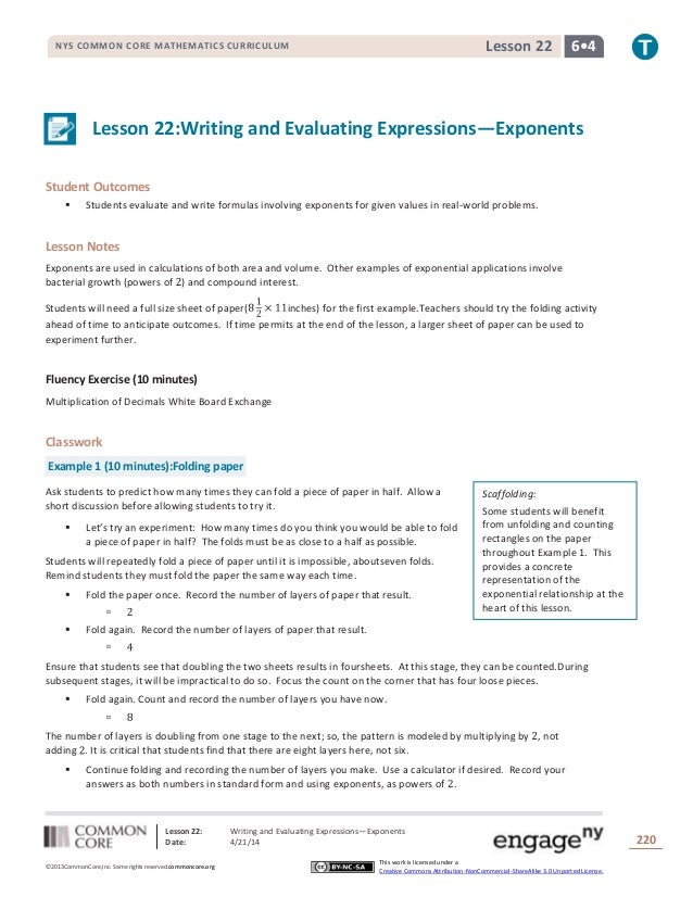 Lesson 22: Writing and Evaluating Expressions—Exponents Date: 4/21/14 220 ©2013CommonCore,Inc. Some rights reserved.common...