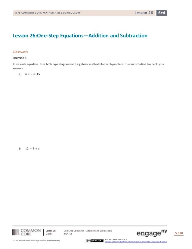 Lesson 26: One-Step Equations—Addition and Subtraction Date: 4/24/14 S.110 110 ©2013CommonCore,Inc. Some rights reserved.c...