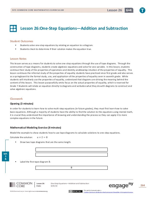 Lesson 26: One-Step Equations―Addition and Subtraction Date: 4/24/14 264 ©2013CommonCore,Inc. Some rights reserved.commonc...
