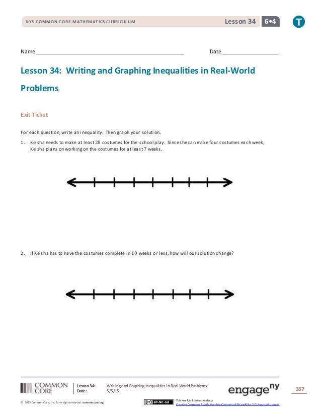 lesson 34 writing and graphing inequalities in real-world