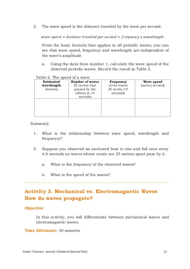 G7 science student modules 3rd 4th qrtr – Wave Speed Worksheet